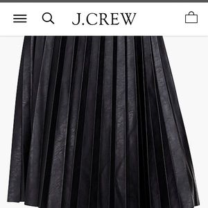 J. Crew Vegan Leather Pleated Black Midi Skirt